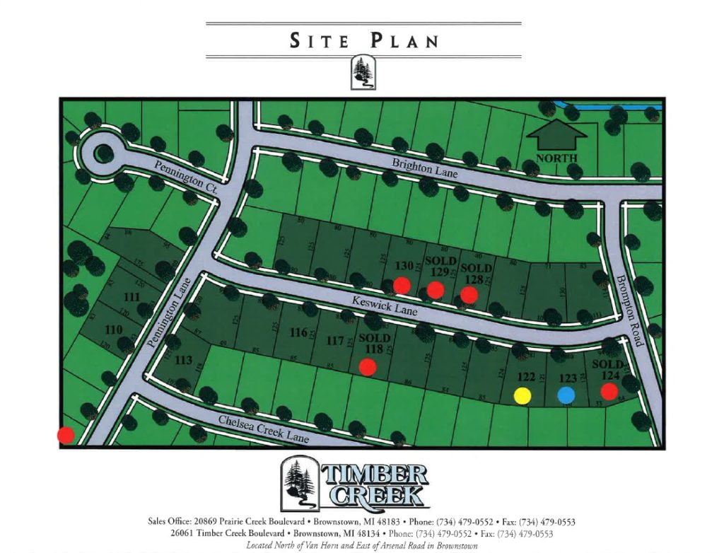 site plan for Timber Creek